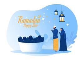 man husband woman wife religious islamic Fasting feast party Ramadan Kareem, Iftar with illustration