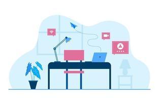 Work From Home Computer Internet Online Business Freelancer Illustration vector