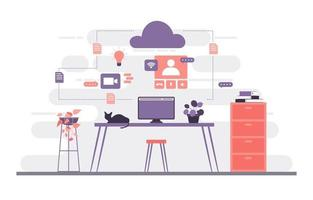 trabajar desde casa computadora internet negocios en línea freelancer ilustración vector