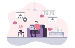 la gente trabaja desde casa, internet, negocios en línea, freelancer, ilustración