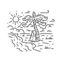 vector de ilustración de diseño de monoline de playa de surf