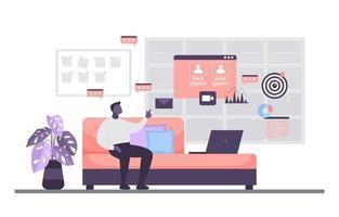 People Work From Home Internet Online Business Freelancer Illustration vector