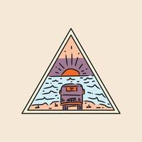 Illustration sunset van triangle badge and emblem design vector