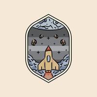 Illustration rocket in galaxy badge and emblem design vector