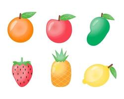 Set of tropical fruits cartoon design vector on white background