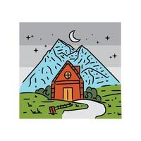 Illustration house with view mountain design vector
