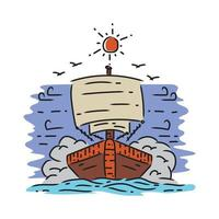 Illustration pirate in the sea design vector on white background