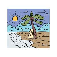 Illustration surfing beach design vector on white background