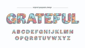 Colorful Puzzle Cartoon Uppercase Typography vector