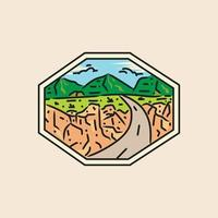 Illustration desert adventure badge and emblem design vector