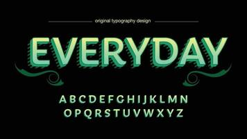 Bright Green Elegant Retro Label 3D Isolated Font vector