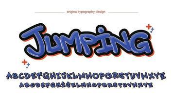 fuente aislada de estilo graffiti moderno púrpura y naranja vector