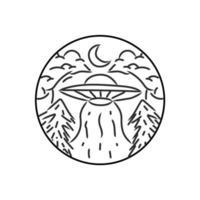 Ufo in the forest monoline design illustration vector