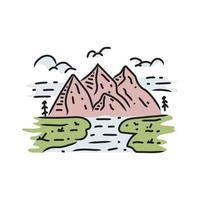 Illustration of nature mountain and river design vector on white background