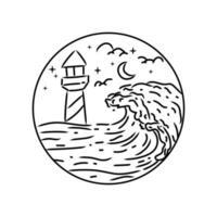 Lighthouse and wave beach monoline design vector