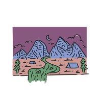 Illustration wanderer mountain design vector on white background