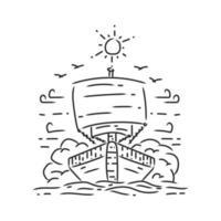 Ship in the sea monoline design illustration vector