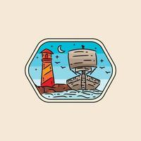 Illustration pirate and lighthouse badge and emblem design vector