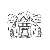 Adventure bag monoline design illustration