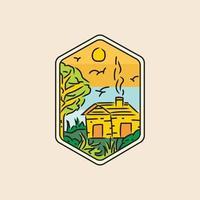Illustration retro home badge and emblem design vector
