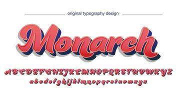 Red 3D Elegant Bold Cursive Style Isolated Font vector