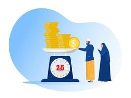 muslim man pay zakat from profit on ramadan kareem vector illustrator.