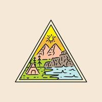 Illustration cabin in nature triangle design vector badge and emblem