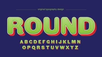 Green and Red Fun Rounded Cartoon 3D Isolated Font vector