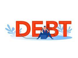 empresario dolor de cabeza, estrés, crisis financiera con fondo de palabra deuda. vector