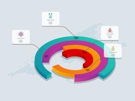Infografía de línea de tiempo isométrica de círculo abstracto 4 pasos con mapa del mundo vector