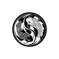 silueta, círculo, koi, pez, diseño, vector, aislado, blanco, plano de fondo vector