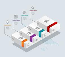 abstract stairs  timeline infographics 4 steps with world map for business and presentation vector