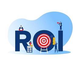 retorno de la inversión, roi, mercado y crecimiento financiero marketing beneficio beneficio ingreso de inversiones en negocios ilustración vectorial plana vector
