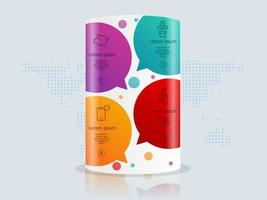abstract podium, pillar  infographics 4 steps with world map for business and presentation vector