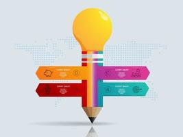 abstract pencil   infographics 4 steps with world map for business and presentation vector