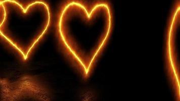 corações esfumados abstratos movendo-se em linha em 4k
