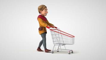 Homem medieval divertido de desenho animado em 3D indo às compras de supermercado
