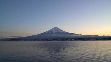 Beautiful Fuji san mountain with Kawaguchiko Lake and twilight sky in Japan