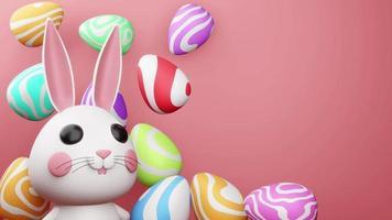 Kaninchen mit buntem Ei für Ostergrüße video