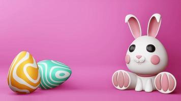 süßes Häschen mit buntem Ei für Ostertag video