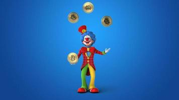 Spaß 3d Cartoon Clown mit Bitcoins