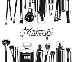 conjunto de pinceles de maquillaje y marco de productos. vector