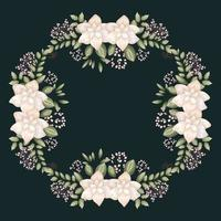 white flowers and leaves painting frame vector design