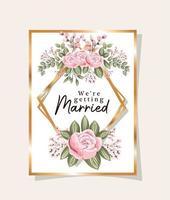 Invitación de boda con marco dorado flores rosas y hojas de diseño vectorial vector