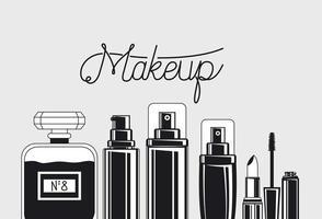 conjunto de pinceles y productos de maquillaje vector