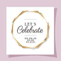 Wedding invitation with gold frame vector design
