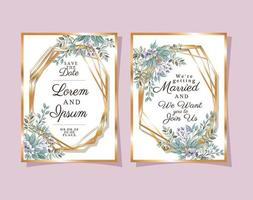 Two wedding invitations with gold frames purple flowers and leaves vector design