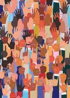 diversity concept with interracial hands up vector