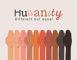 diversity and humanity concept with interracial hands up vector