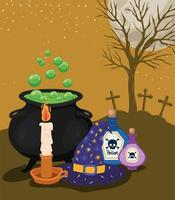 Halloween candle, poison, witch cauldron, and hat in front of cemetery vector design